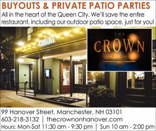 Buyouts And Private Patio Parties, The Crown Tavern